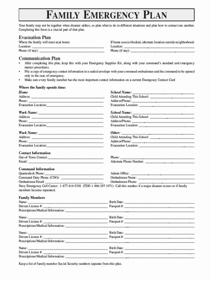 Family Emergency Plan Template Family Disaster Plan Template Awesome National Geographic