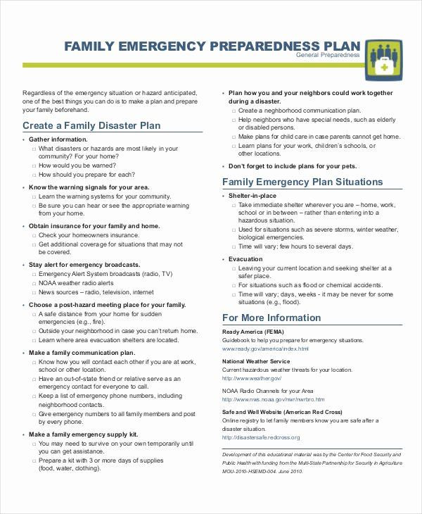 Family Emergency Plan Template Family Emergency Preparedness Plan Template Inspirational