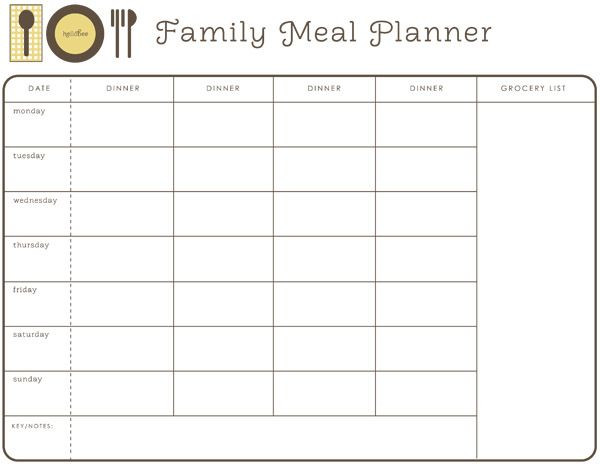 Family Meal Planner Template Pin On Food