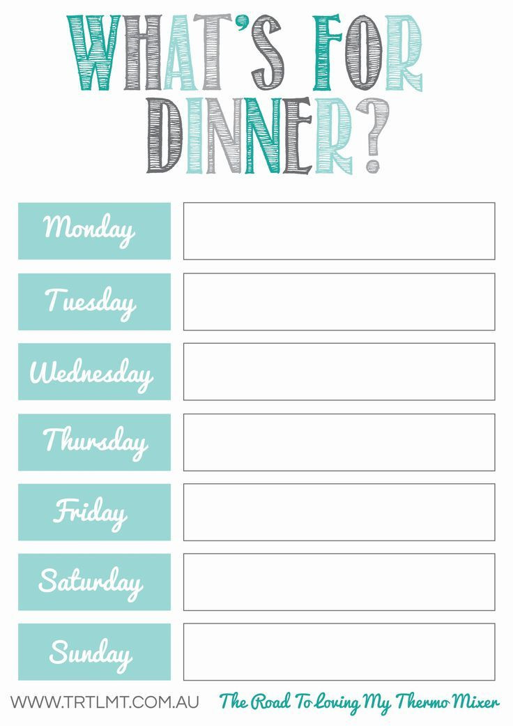 Family Meal Planner Template Printables