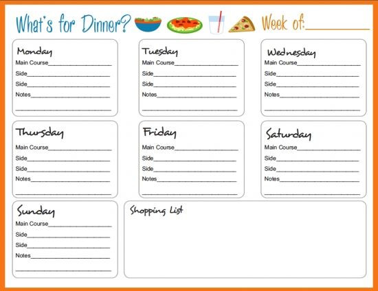 Family Meal Planner Template Weekly Meal Menu Template Family Dinner