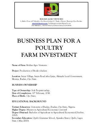 Farm Business Plan Template Free Business Plan for A Poultry Farm Investment