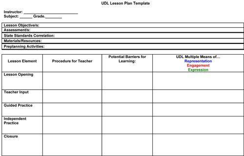 Field Trip Lesson Plan Template Udl Lesson Plan Template Google Search