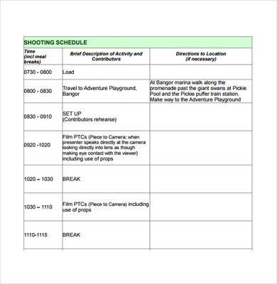 Film Business Plan Template Production Schedule Template