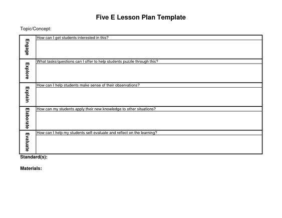 Five E Lesson Plan Template 5 E Lesson Plan Template
