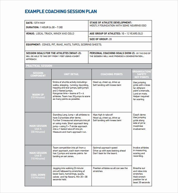 Football Session Plan Template 40 Football Session Plan Template