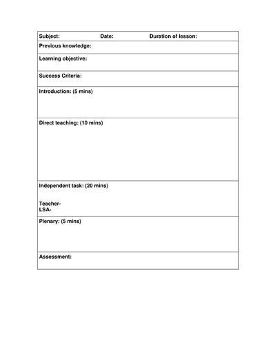 Formal Lesson Plans Template formal Observation Lesson Plan Template Awesome Blank Lesson