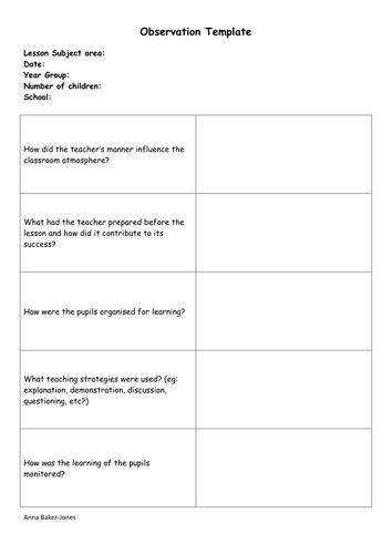 Formal Lesson Plans Template formal Observation Lesson Plan Template New Observation