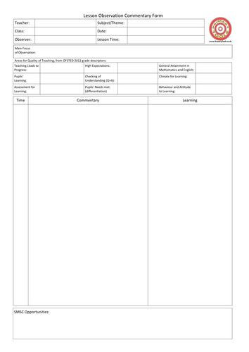 Formal Observation Lesson Plan Template Pin On Lesson Plan Template Printables