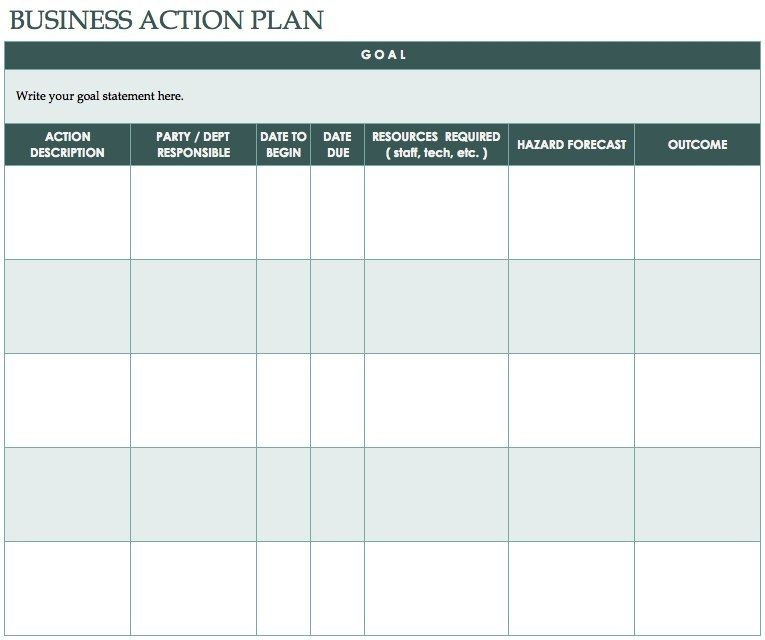Free Action Plan Template Excel Free Action Plan Templates Smartsheet In Business Action