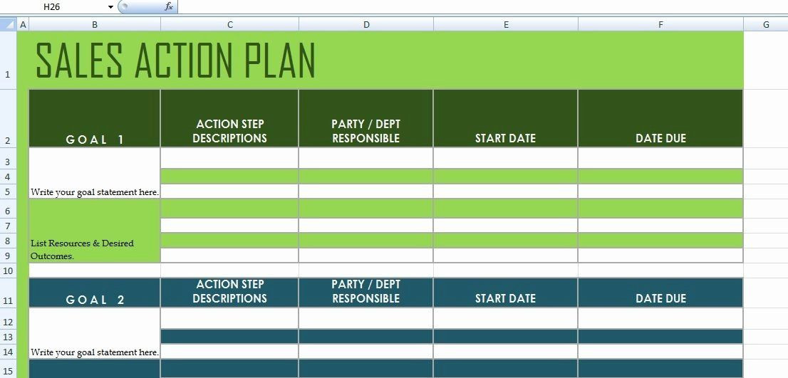 Free Action Plan Template Excel Sales Action Plan Template Excel Elegant Get Sales Action