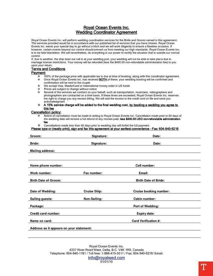 Free event Planner Contract Template event Planning Business event Planning Ideas Wedding Planner