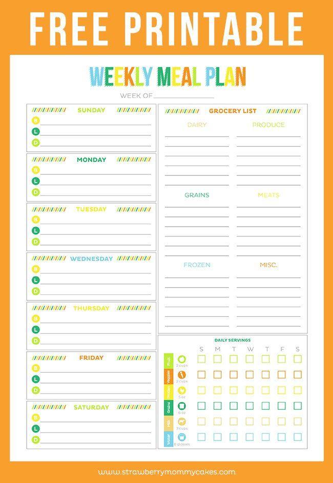 Free Menu Plan Template Free Printable Weekly Meal Planner Printable Crush