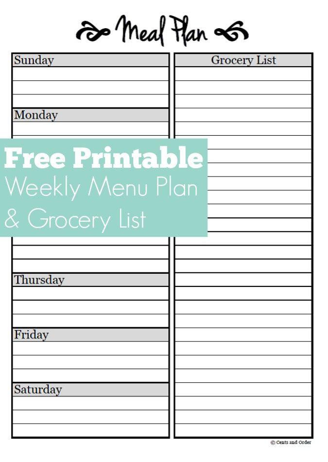 Free Menu Plan Template Meal Planning Free Weekly Menu Planner Printable