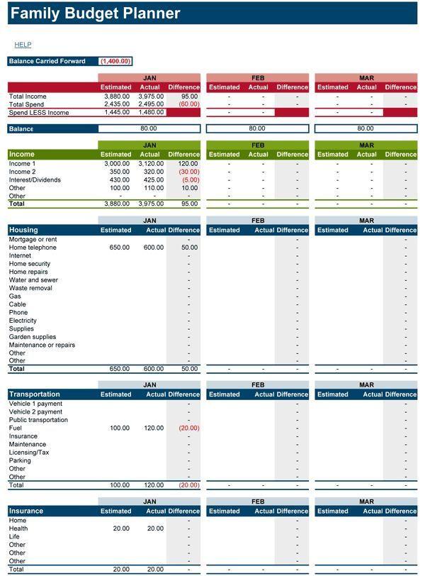 Free Online Budget Planner Template 25 › Laden Sie Kostenlose Family Bud Tabelle Für