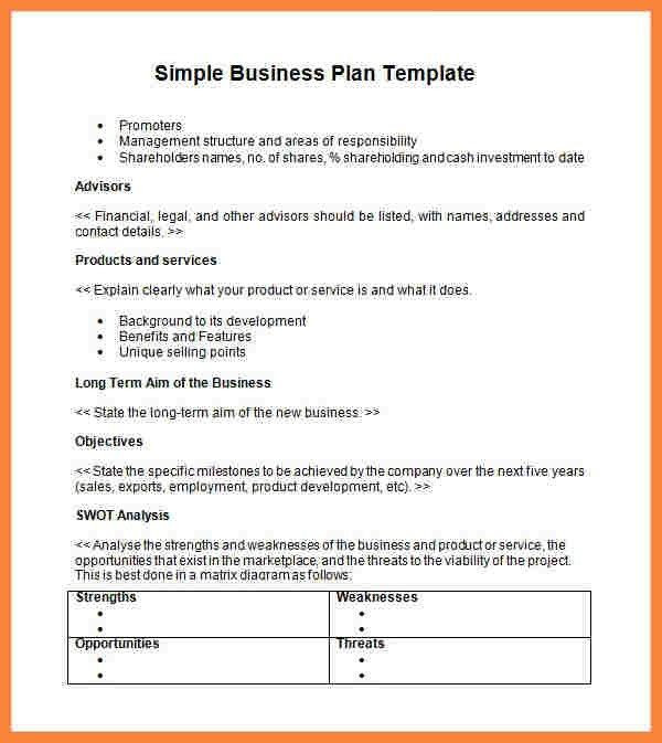 Free Printable Business Plan Template 12 Easy Business Plan Sample