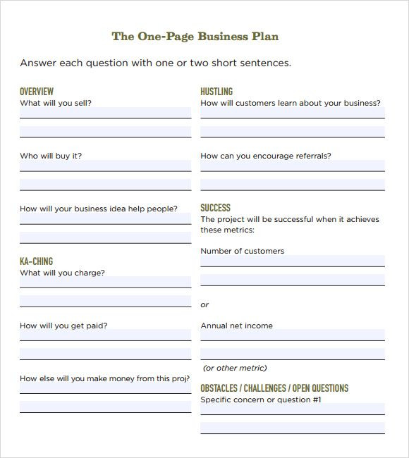 Free Printable Business Plan Template E Page Business Plan Template Free Business Plan Samples