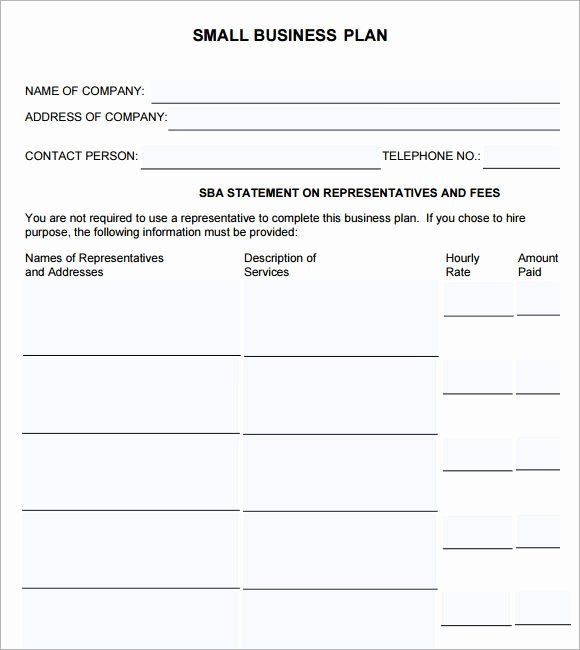 Free Printable Business Plan Template Mini Business Plan Template New Free 18 Sample Small