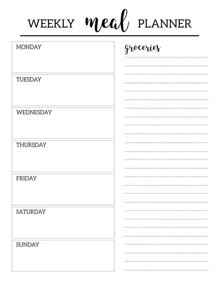 Free Printable Meal Planner Template Free Printable Meal Planner Template