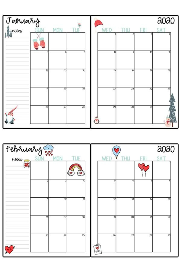 Free Printable Monthly Planner Template 2020 Calendar Printable Free Printable 2020 Monthly