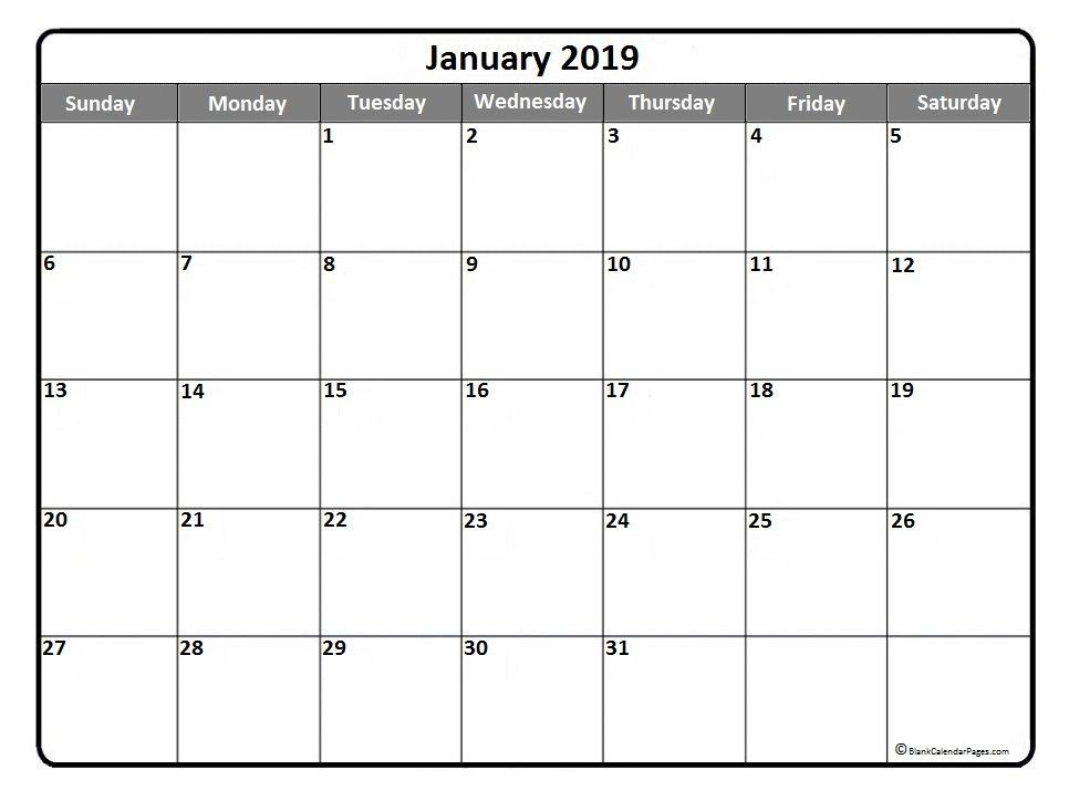Free Printable Monthly Planner Template January 2019 Printable Calendar Template January2019