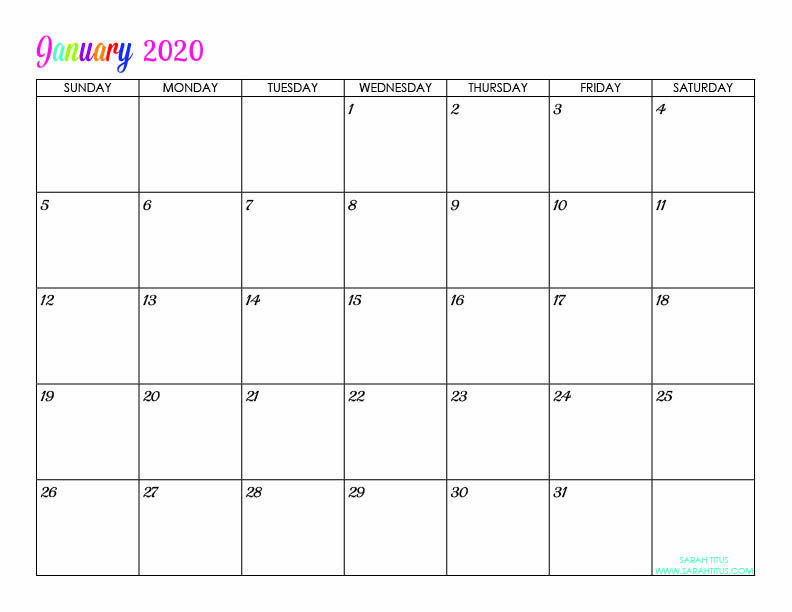 Free Printable Monthly Planner Template January Custom Editable 2020 Free Printable Calendar
