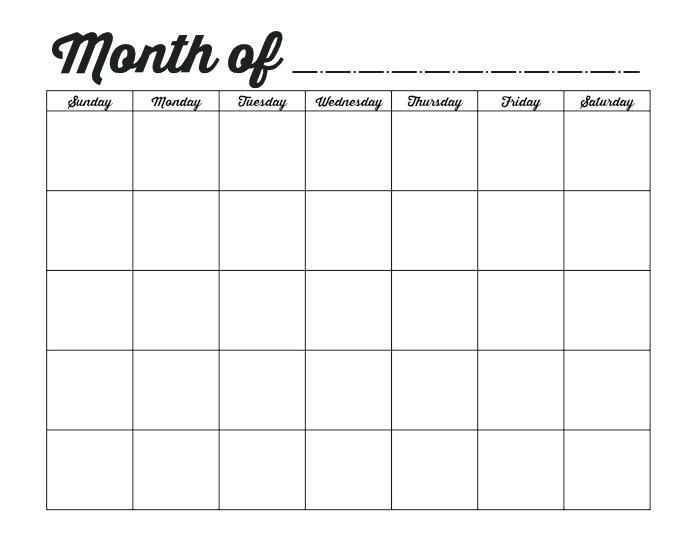 Free Printable Monthly Planner Template Pin On Blank Monthly Calendar Template