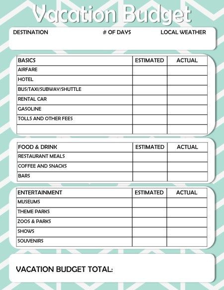 Free Printable Vacation Planner Template Free Printable Vacation Travel Bud Worksheet Have Seat