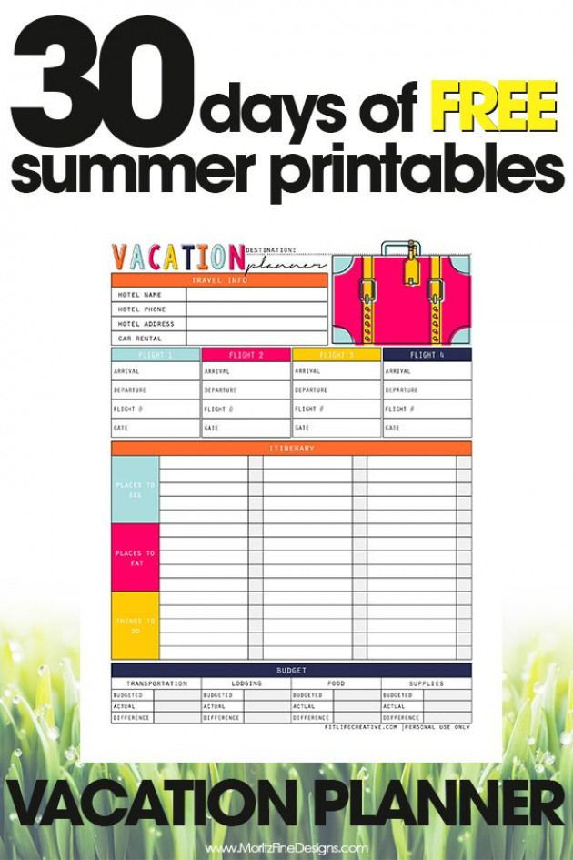 Free Printable Vacation Planner Template Free Summer Printables Vacation Planner