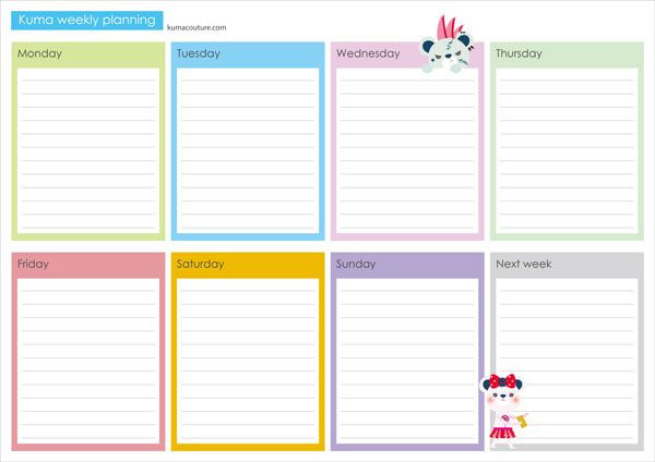 Free Printable Weekly Planner Template Kuma Printable Weekly Planner A4 Size