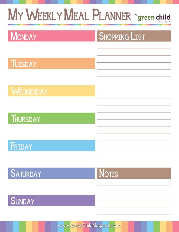 Free Weekly Meal Planner Template Free Printable Weekly Meal Planner