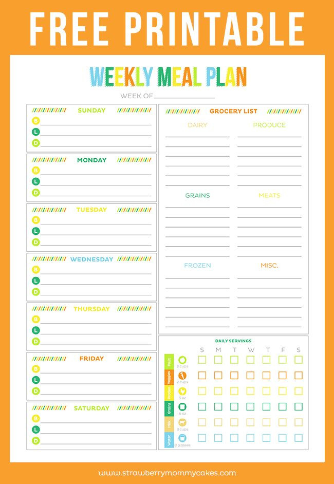 Free Weekly Meal Planner Template Free Printable Weekly Meal Planner Printable Crush