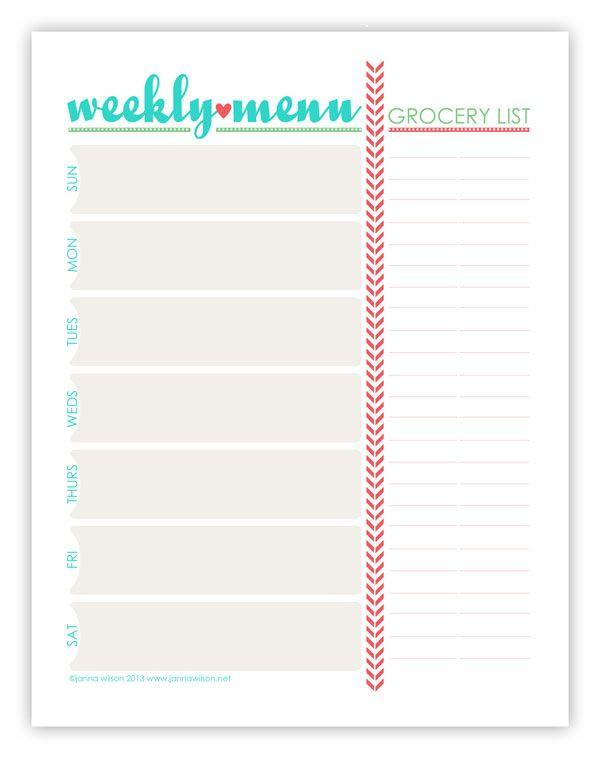Free Weekly Menu Planner Template Menu Plan Monday July 15 13