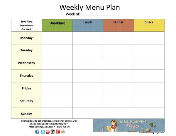 Free Weekly Menu Planner Template Pin On Cleaning and organization