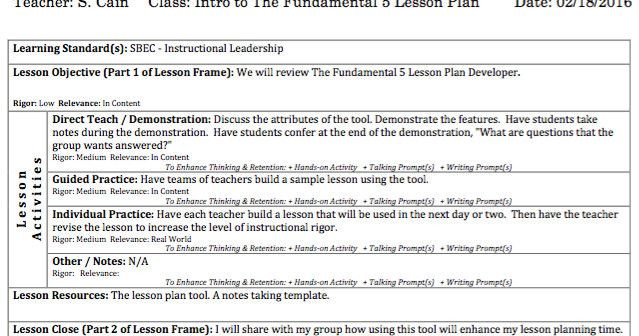 Fundamental 5 Lesson Plan Template Fundamental Five Lesson Plan Template Elegant Lead Your