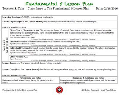 Fundamental 5 Lesson Plan Template Lead Your School the Fundamental 5 Lesson Plan Developer