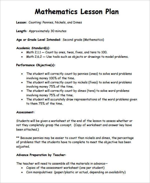 Fundamental 5 Lesson Plan Template Math Lesson Plan Template Sample Math Lesson Plan Template