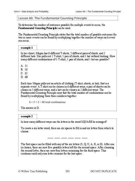 Fundamental Five Lesson Plan Template Fundamental Counting Principle Worksheet the Fundamental