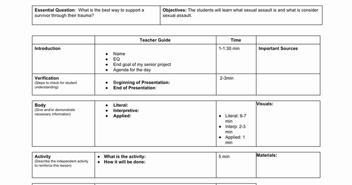 Fundamental Five Lesson Plan Template Lesson Plan Template Doc Inspirational 20 Minute Lesson Plan