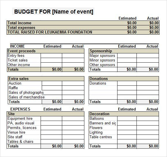 Fundraising Plan Template Excel event Bud Templates 7 Free Download for Pdf Word