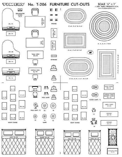 Furniture Template for Floor Plans Furniture Arranging Kit 1 4 Scale Interior Design