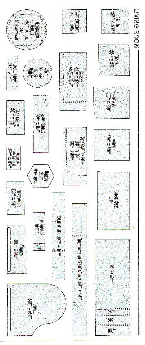 Furniture Template for Floor Plans Furniture Templates 1 4 Inch Scale Printable