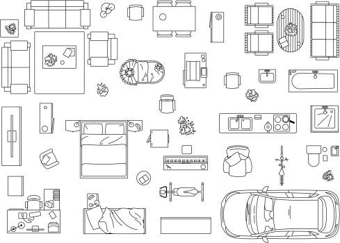 Furniture Template for Floor Plans Vector Image Set Of Furniture Appliances and Car Vector