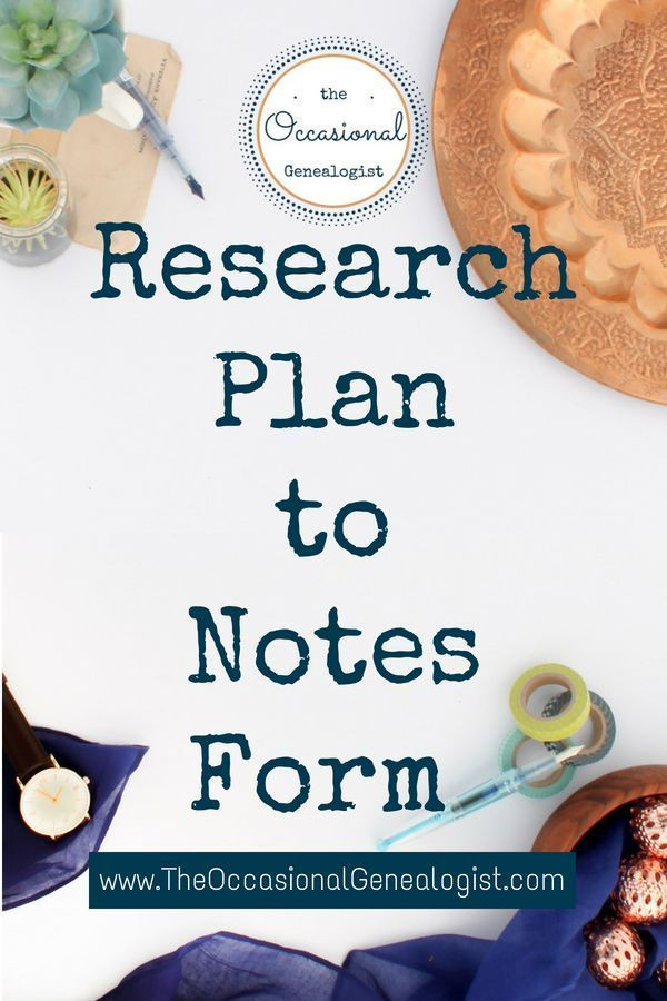 Genealogy Research Plan Template Genealogy Research Plan to Notes form