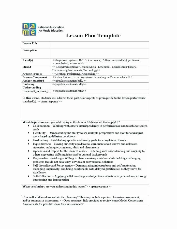 General Music Lesson Plan Template Music Lesson Plan Template Fresh General Music Lesson Plan