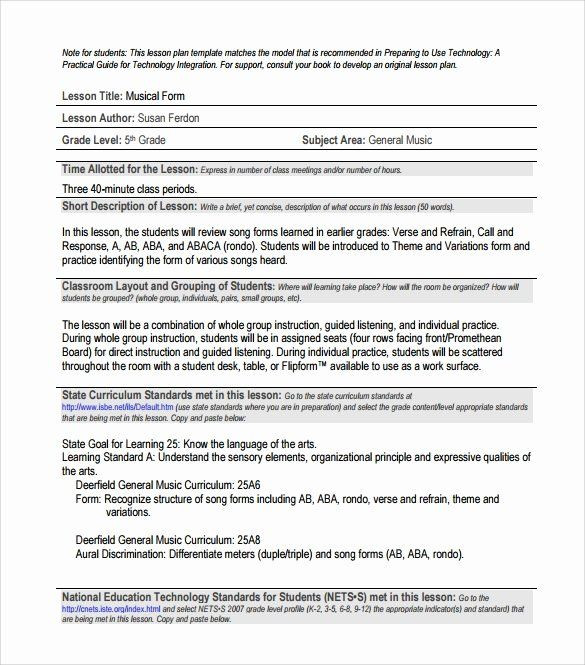 General Music Lesson Plan Template Music Lesson Plan Template Unique Sample Music Lesson Plan 7