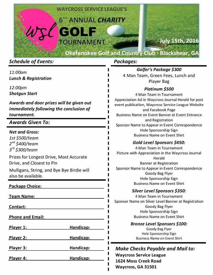 Golf tournament Planning Template 30 Golf Outing Registration form Template In 2020
