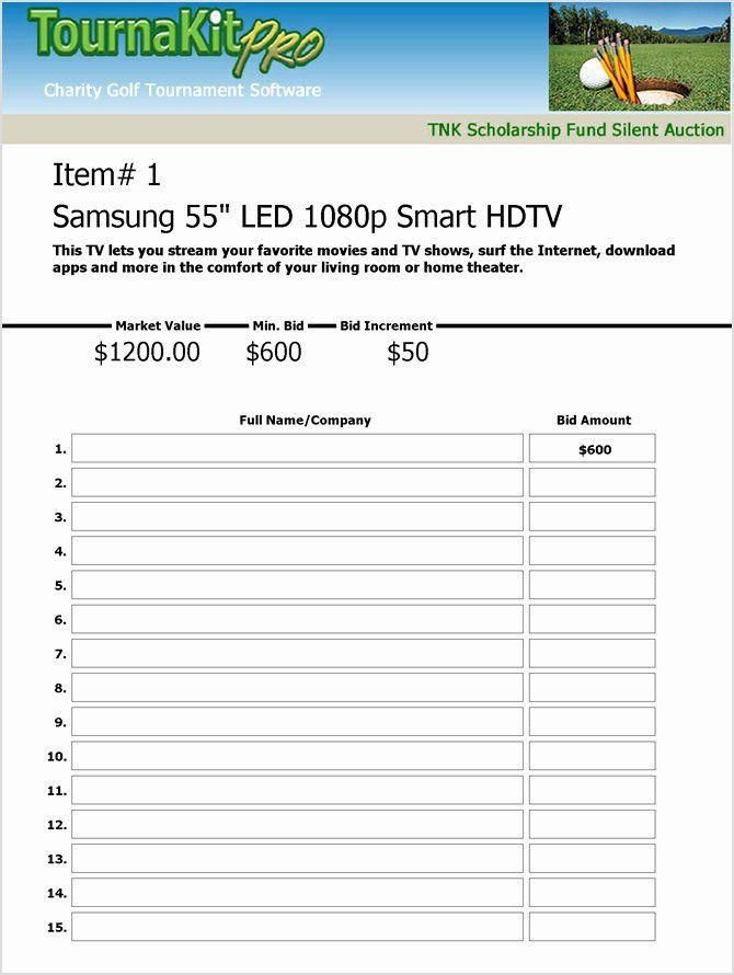 Golf tournament Planning Template Golf tournament Entry forms Template Fresh Charity Auction