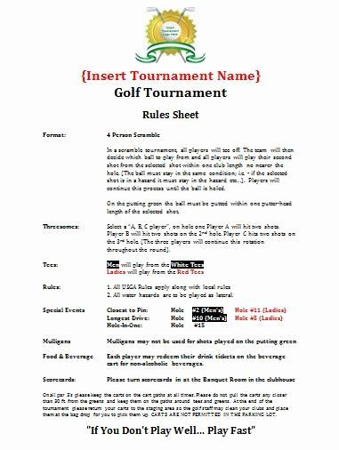 Golf tournament Planning Template Golf tournament Entry forms Template Luxury Planning Guide