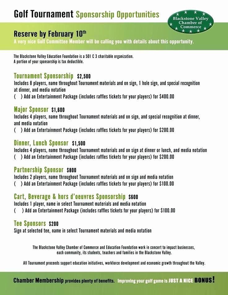 Golf tournament Planning Template Golf tournament Sponsorship form Template Luxury Golf